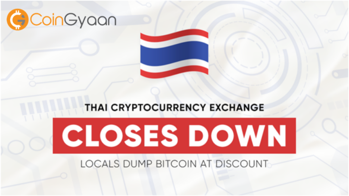 Crashing news for Bitcoin Price as the largest Bitcoin exchange in Thailand closes down