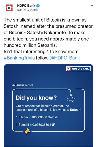 India's Largest Private Bank Throws Light on Bitcoin!